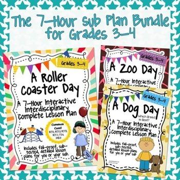 The 7 Hour Sub Plans Bundle for Grades 3-4 ~ Easy Sub Plans!