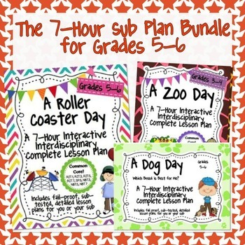 The 7 Hour Sub Plans Bundle for Grades 5-6 ~ Easy Sub Plans!