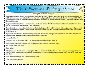 The 7 Sacraments Bingo Game