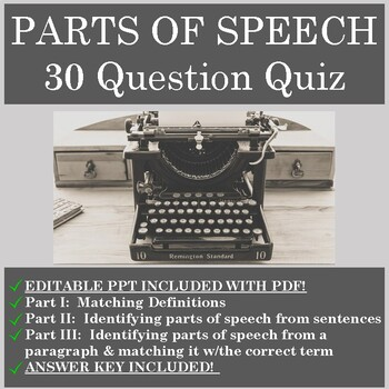 The 8 Parts of Speech! EDITABLE Quiz with Answer Key! by ...