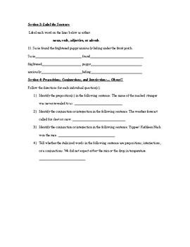The 8 Parts of Speech Unit Test
