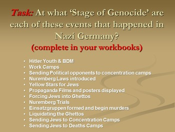 The 8 Stages of Genocide in Nazi Germany- powerpoint plus student tasks