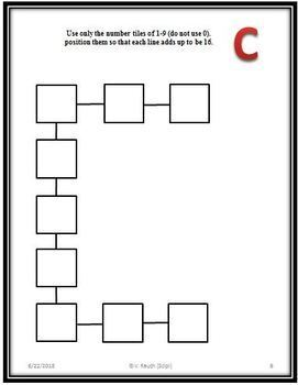 A, B, C's of Number Tiles - 26 Problem Solving Math Activities - FREE Version