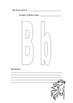 The ABC of Horse Terms Activity