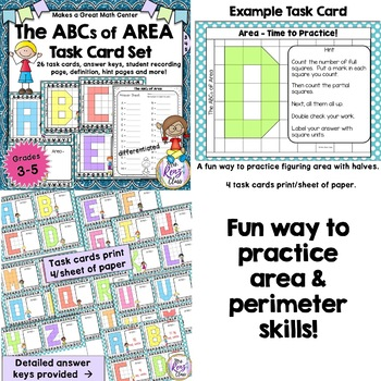 Area and Perimeter Task Cards - Math Center Set BUNDLE of 2 Products