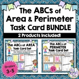 Area and Perimeter Task Cards - Math Center Set BUNDLE of
