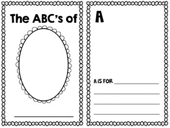 The ABC's of Me! A Back to School Activity