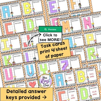 Perimeter Task Cards  -  Perimeter Math Center Task Cards with Answer Keys