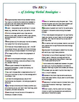 Verbal Analogies Worksheets & Teaching Resources | TpT