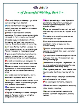 The ABC's of Successful Writing, Part 2