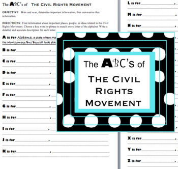 Civil Rights Movement-a reading, research, and writing project