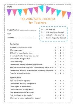 The ADD/ADHD checklist for teachers