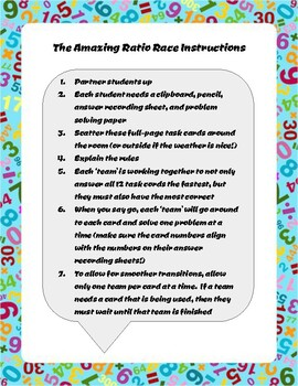 The AMAZING Ratio Race Task Cards (Kinesthetic Learning)