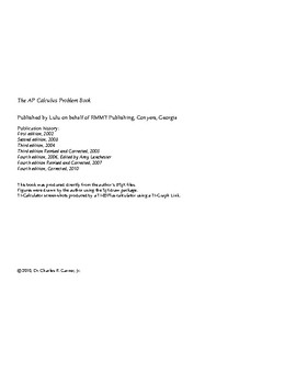The AP Calculus Problem Book (original edition)
