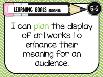 The ARTS 5-6  MUSIC, DRAMA, MEDIA, VISUAL ARTS, DANCE learning GOALS Posters. AC