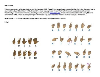 American Sign Language (ASL) ~The ASL Family Letter