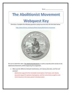 The Abolitionist Movement- Webquest and Video Analysis with Key