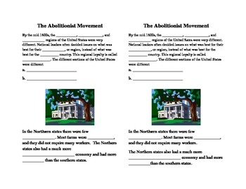 The Abolitionist Movement interactive notes for Journal 4th Grade SS