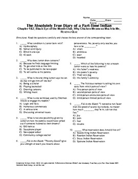 The Absolutely True Diary of a Part-Time Indian Ch 1-2 Quiz