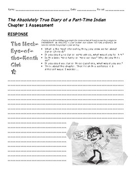 The Absolutely True Diary of a Part Time Indian - Ch. 1 Close Read Assessment