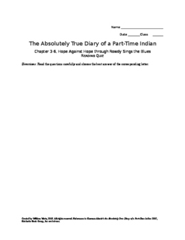 The Absolutely True Diary of a Part-Time Indian Ch 5-7 Quiz