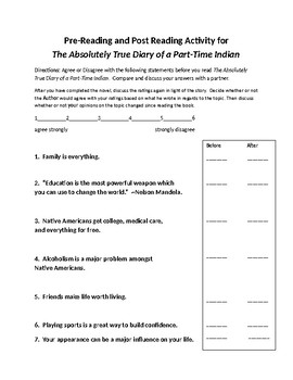 The Absolutely True Diary of a Part-Time Indian by Sherman Alexie Novel Unit