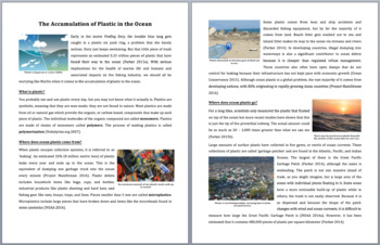 The Accumulation of Plastic in the Ocean - Science Reading Article