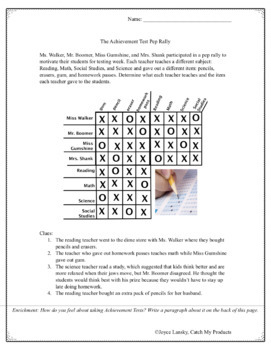 Test Prep Logic Puzzle for Gifted and Talented : The Achievement Test Pep Rally