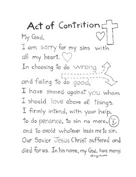 graphic about Printable Catholic Prayers named The Act of Contrition - Catholic Prayer