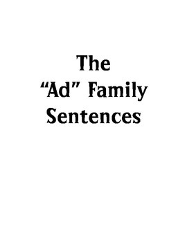"""The """"Ad"""" Family Sentence Book"""
