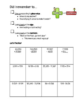 The Adding or Subtracting Checklist & Practice