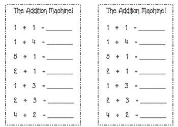 Math Center Worksheet (The Addition Machine)