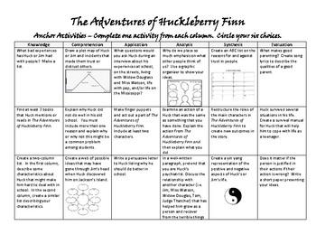 The Adventure of Huckleberry Finn Anchor Activities