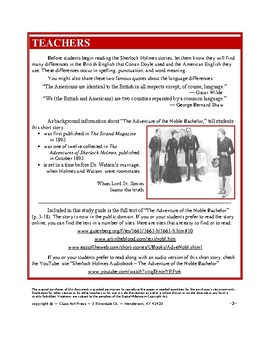 Sherlock Holmes Study Guide: Adventure of the Noble Bachelor: (29 P., Ans. Keys)