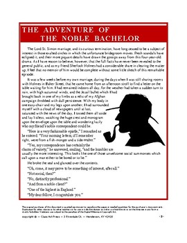 Adventure of the Noble Bachelor: Sherlock Holmes Close Reading Study Guide