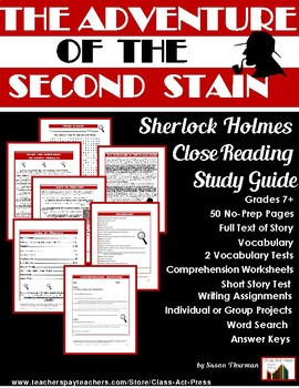 The Adventure of the Second Stain: Sherlock Holmes Study Guide (41 p., $8)