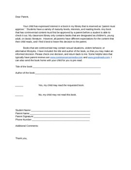 Parent Approval Letter for Classroom Library