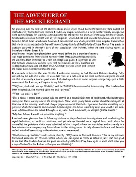 The Adventure of the Speckled Band: Sherlock Holmes Study Guide (29 Pgs., $8)