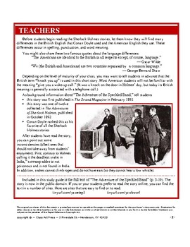 The Adventure of the Speckled Band: Sherlock Holmes Close Reading Study Guide