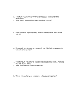 The Adventures of Tom Sawyer Anticipation Theme Questions for Group