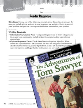 The Adventures Of Tom Sawyer Reader Response Writing Prompts