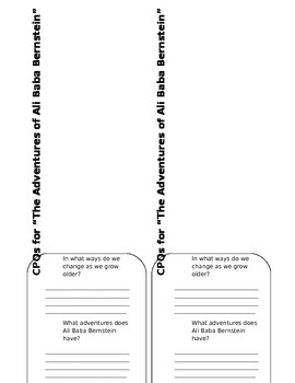 """The Adventures of Ali Baba Bernstein"" foldables for lapbook"