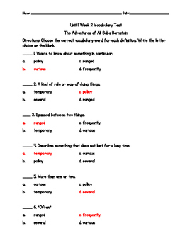 The Adventures of Ali Baba Vocabulary Test