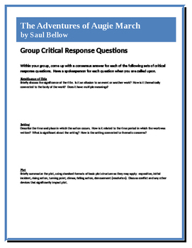 The Adventures of Augie March - Bellow - Group Critical Response Questions