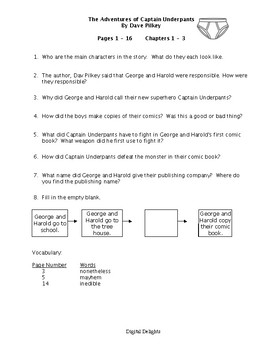 The Adventures of Captain Underpants Reading Comprehension Questions