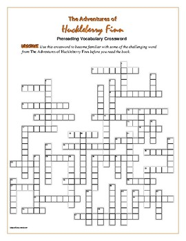 The Adventures of Huck Finn: 50-word Prereading Crossword-