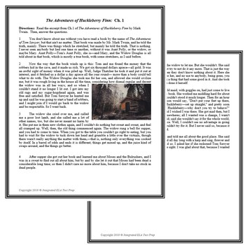 The Adventures of Huck Finn Ch. 1 Common Core ELA Reading Test Prep Quiz