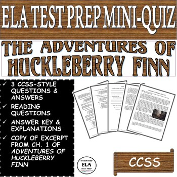 The Adventures of Huckleberry Finn Questions and Quiz Chapter 1 FREEBIE
