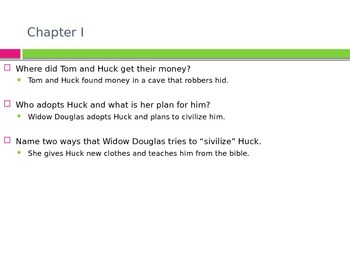 The Adventures of Huck Finn study guide ppt