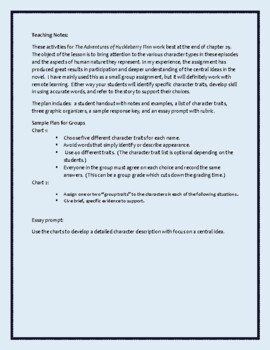 The Adventures of Huckleberry Finn-A Worksheet for Group Character Analysis
